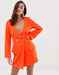 Платье-смокинг с пуговицами ASOS DESIGN Fluoro-Оранжевый
