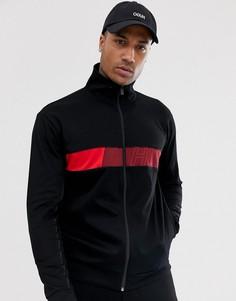 Черная спортивная куртка с логотипом на груди HUGO Dalais-Черный