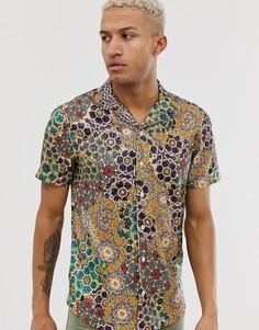 Рубашка классического кроя с принтом и пайетками ASOS DESIGN-Мульти