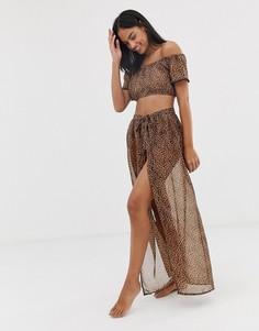 Пляжная юбка макси с запахом и леопардовым принтом South Beach-Коричневый