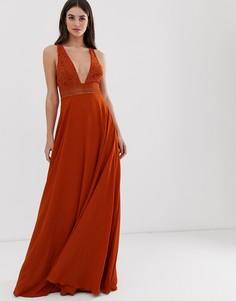 Платье макси без рукавов с кружевным лифом ASOS DESIGN Tall-Белый