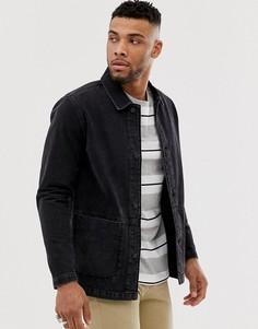 Выбеленная черная джинсовая куртка ASOS DESIGN-Черный