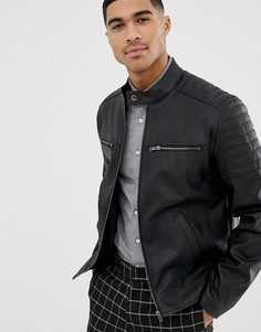 Куртка из искусственной кожи ASOS DESIGN-Черный