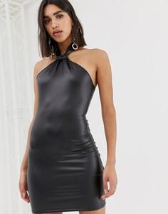 Черное платье мини из искусственной кожи Missguided-Черный