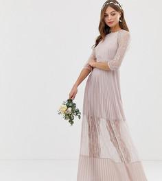 Плиссированное платье макси с кружевной вставкой TFNC-Коричневый
