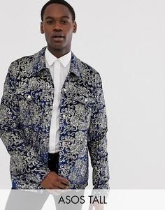 Темно-синяя бархатная куртка в стиле вестерн с отделкой пайетками ASOS DESIGN-Темно-синий