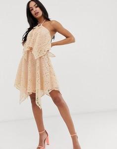 Двухслойное кружевное платье мини ASOS DESIGN-Розовый