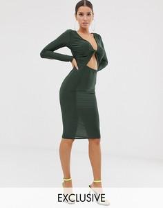 Облегающее платье миди цвета хаки с перекрученной отделкой спереди Missguided-Зеленый