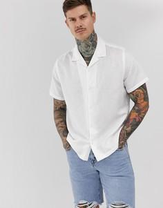 Белая oversize-рубашка с отложным воротником из ткани с добавлением льна ASOS DESIGN-Белый