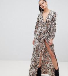 Платье макси со змеиным принтом и запахом эксклюзивно от Missguided Tall-Коричневый
