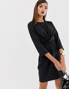Платье мини с запахом и завязкой ASOS DESIGN-Черный