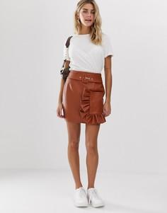 Мини-юбка из искусственной кожи с рюшами на кармане ASOS DESIGN-Коричневый