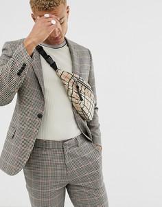 Пиджак скинни в коричневую клетку ASOS DESIGN-Коричневый
