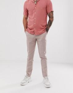 Бежевые строгие брюки зауженного кроя ASOS DESIGN-Розовый
