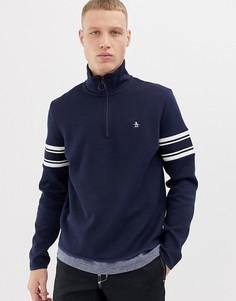 Темно-синяя спортивная куртка в полоску из пике Original Penguin-Темно-синий