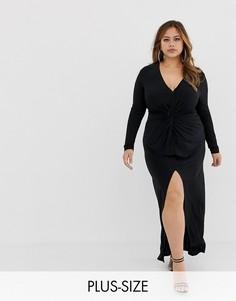 Облегающее платье макси с узелком Club L Plus-Черный
