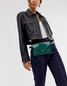 Зеленая сумка-кошелек на пояс с эффектом крокодиловой кожи Inyati-Зеленый