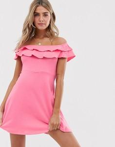 Сарафан с открытыми плечами и двойной оборкой ASOS DESIGN-Розовый