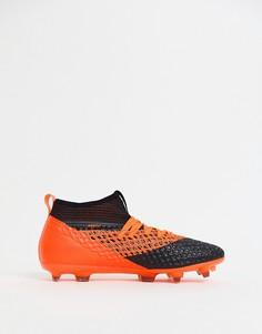Оранжевые футбольные бутсы Puma Future 2.2 Netfit Firm Ground 104830-02-Черный