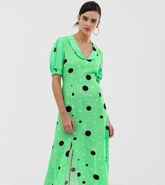 Чайное платье миди с пестрым принтом Reclaimed Vintage inspired-Мульти