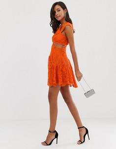 Платье мини с резным кружевом и волнистой кромкой ASOS DESIGN-Мульти
