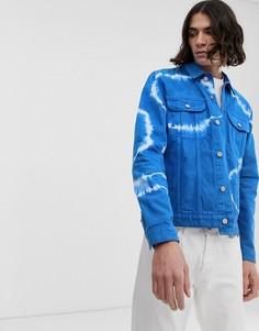 Синяя джинсовая куртка с отделкой тай-дай ASOS DESIGN-Синий