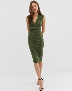Платье-футляр миди с запахом ASOS DESIGN-Зеленый
