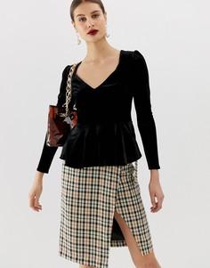 Черная бархатная блузка с вырезом в форме сердца River Island-Черный