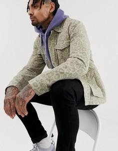 Куртка в стиле милитари с выбеленным леопардовым принтом ASOS DESIGN-Светло-коричневый