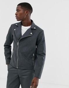 Серая байкерская куртка из искусственной замши Esprit-Серый