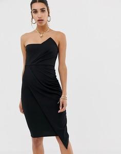 Черное платье-бандо миди в стиле оригами Missguided-Черный