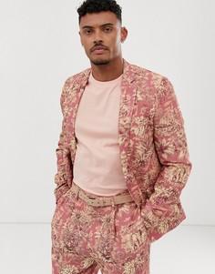 Приталенный пиджак с принтом ASOS DESIGN-Красный