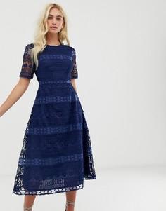 Кружевное платье миди ASOS DESIGN Premium-Темно-синий