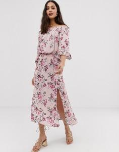 Платье миди с цветочным принтом и открытыми плечами En Crème-Мульти