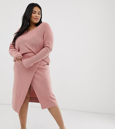 Юбка миди с запахом Micha Lounge Curve-Розовый