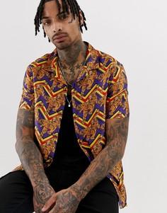 Свободная рубашка в зигзагообразную полоску с принтом тигров ASOS DESIGN-Фиолетовый