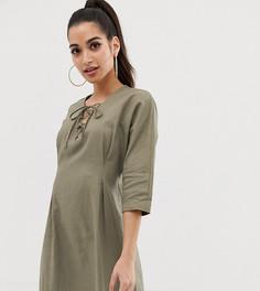 Льняное платье мини на шнуровке ASOS DESIGN Petite-Зеленый