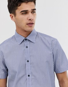 Рубашка классического кроя с короткими рукавами в вертикальную полоску Esprit-Синий