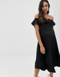 Платье миди из ткани на основе льна ASOS DESIGN Maternity-Черный