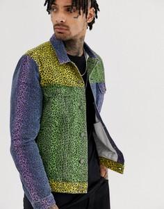 Джинсовая куртка колор блок с леопардовым принтом ASOS DESIGN-Мульти