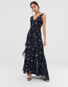 Черное платье макси с цветочным кружевом и глубоким вырезом Little Mistress Tall-Мульти