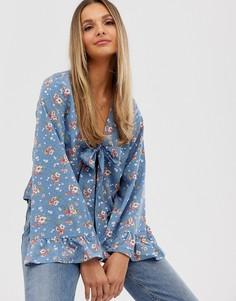 Блузка с цветочным принтом и завязкой спереди Vila-Мульти