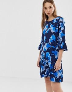 Платье с цветочным принтом и рукавами клеш Minimum-Мульти