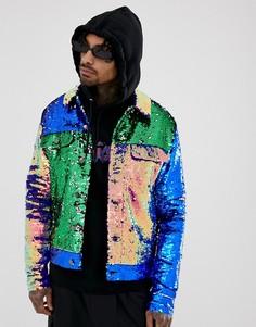 Фестивальная куртка в стиле вестерн со вставками с пайетками ASOS DESIGN-Мульти