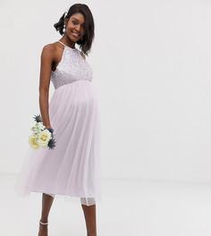 Сиреневое платье миди из тюля с халтером и пайетками Maya Maternity Bridesmaid-Фиолетовый