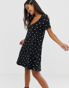 Платье мини с принтом сердец ASOS DESIGN-Мульти
