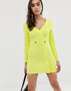 Трикотажное платье-смокинг с контрастными пуговицами ASOS DESIGN-Желтый