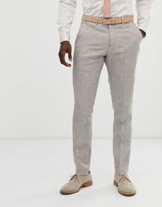 Светло-бежевые узкие брюки из льняной ткани Celio-Светло-бежевый