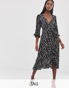 Платье миди с глубоким вырезом и цветочным принтом Fashion Union Tall-Черный