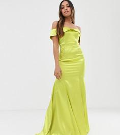 Неоново-лаймовое платье макси Dolly & Delicious Petite-Желтый